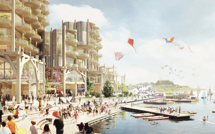 A rendering of the Idea District, a concept by Sidewalk Labs